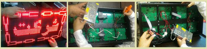 تصاویر کلاس آموزش نصب و ساختن تابلو روان ال ای دی LED